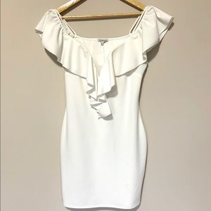 WHITE OFF THE SHOULDER DRESS WITH RUFFLE